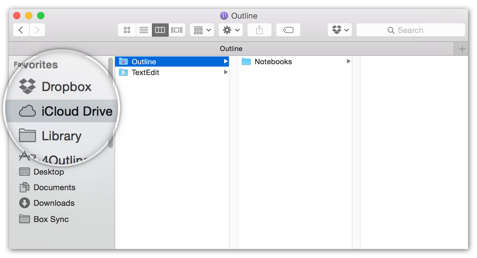 Using Outline with iCloud Drive