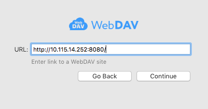 Outline sync settings: WebDAV address